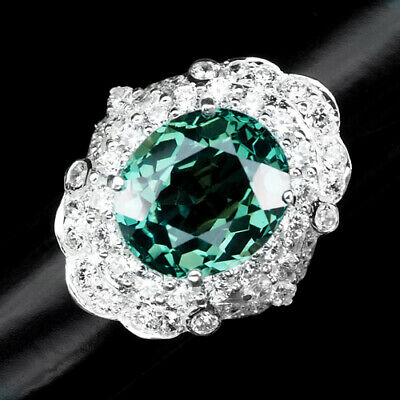 $ CDN31.70 • Buy Blue Green Aquamarine Ring Oval 12.80 Ct. Sapphire 925 Sterling Silver Size 6.5
