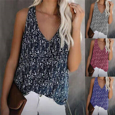 Womens V Neck Cami T Shirt Ladies Summer Holiday Party Tank Loose Vest Tops New • 6.79£
