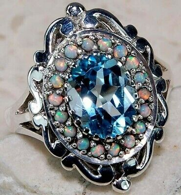 $ CDN52 • Buy 4CT Aquamarine 925 Solid Sterling Silver Victorian Style Ring Sz 8 FO2