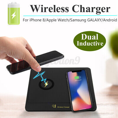 $ CDN24.85 • Buy Dual Transmitter QI Wireless Charging Pad Charger Dock Plate For IOS Samung US