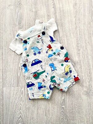 Baby Boy Clothes 0-3 Months Dinosaur Dungarees Outfit Set With Bodysuit • 2.50£