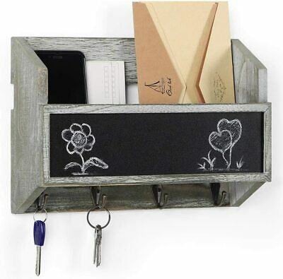 $19.99 • Buy Wooden Wall Mount Mail Holder Organizer Mail Sorter With Key Hooks/Chalkboard