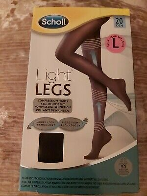 £5.95 • Buy Scholl Light Legs Compression Support BLACK Tights 20 Denier LARGE RRP £14.99