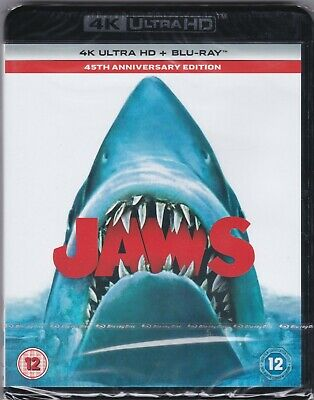 Jaws (4K Ultra HD + Blu-ray, New & Sealed) A Classic Spielberg Action Movie • 14£