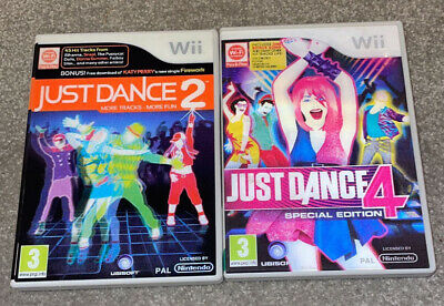 Just Dance 2, 4 (Special Edition) Nintendo Wii Games Bundle - Tested - MINT • 4.99£