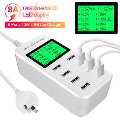 AU29.95 • Buy Charging Station 8 Port USB Hub AC Power Adapter Multi Dock Home Phone Charger