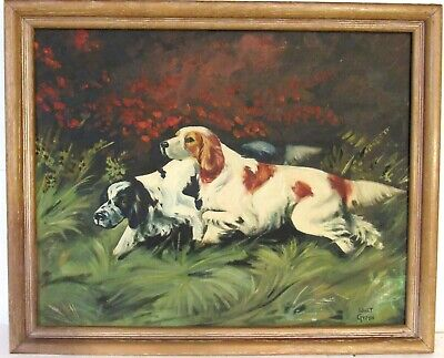 £266.19 • Buy Vintage  Hunting Scene  Oil Painting Of Dogs, Signed