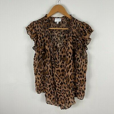 AU24.95 • Buy Witchery Womens Top 16 Multicoloured Leopard Print Flared Short Sleeve