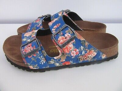 Birkenstock Papillio Arizona Slide Sandals Blue Floral Buckle Slip On Womens 7.5 • 50.65£