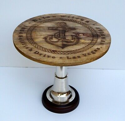 AU319.45 • Buy Anchor Style Nautical Wooden 24  Table Metal Home Restaurant & Bar Decorative