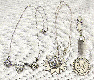 $ CDN44.40 • Buy Lot Vintage Silver Sterling 5 Jewelry Items: 2 Necklaces And 3 Pendants