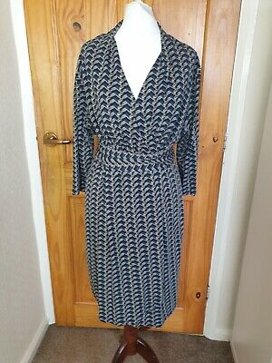 AU44.64 • Buy LK Bennett Size 14 Grey Black Smart Formal Occasion Jersey Style Wrap Dress