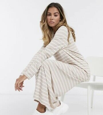 AU39.95 • Buy ASOS DESIGN Long Sleeve Maxi T-shirt Dress In Taupe And White Stripe 12 BNWT