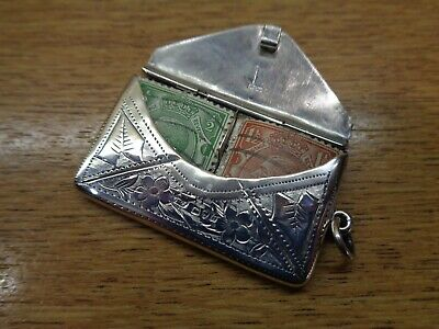 £85 • Buy Antique Solid Silver Double Stamp Holder/case, In Envelope Form. Chester 1914