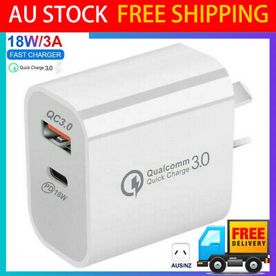 AU12.94 • Buy 18W USB PD Type-C Quick Fast Wall Charger Adapter For IPhone 12 Samsung AU PLUG