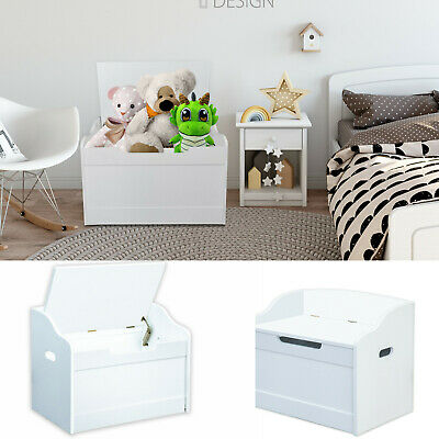 Large Wooden Toy Box White Storage Unit Kids Toys Children Nursery Chest Bedroom • 39.99£