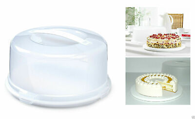 Large Round Cake Storage Carrier Box Container Clear Lockable Lid Cover 33CM • 8.49£