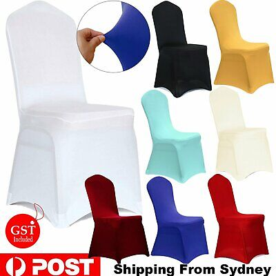 AU8.90 • Buy 1-50x Chair Seat Covers Spandex Stretch Washable Banquet Dining Wedding Party