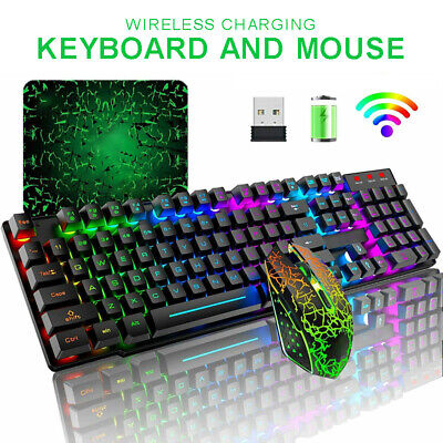 AU59.59 • Buy Wireless Gaming Keyboard Mouse,RGB Backlit Rechargeable For PC Laptop Computer