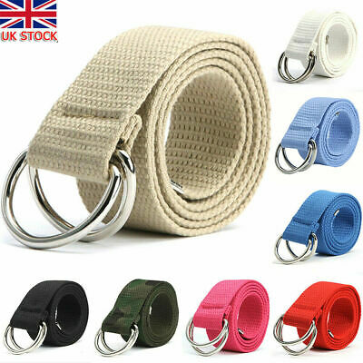 £4.99 • Buy Mens Womens Canvas Belt With Double D Ring Metal Buckle Fashion Waistband UK