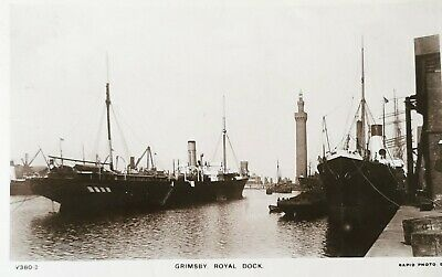 £6 • Buy Royal Dock, Grimsby. Vintage Photographic Postcard Used 1908