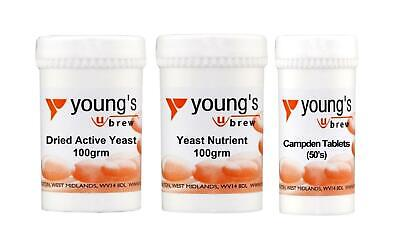 £12.99 • Buy YOUNG'S Dried Active Yeast 100g, Yeast Nutrient 100g & Campden Tablets (50)