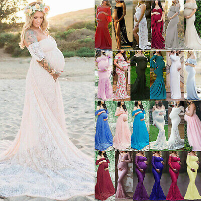 £13.77 • Buy Pregnancy Photography Photoshoot Maternity Maxi Dress Off Shoulder Gown Cocktail