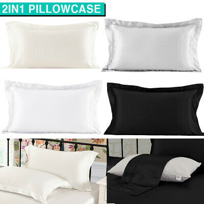 AU11.49 • Buy 2in1 Silk Satin Pillow Cases Cover Solid Standard Bedding Smooth Soft PillowCase