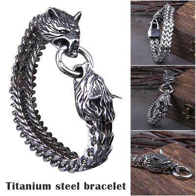 Unisex Stainless Steel Viking Wolf Fenrir Head Bracelet Bangle Wristband Gift • 9.97£
