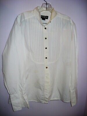 $20.93 • Buy VINTAGE Ladies PERRY ELLIS AMERICA Tuxedo Shirt Size M 1980's French CUFF For CU