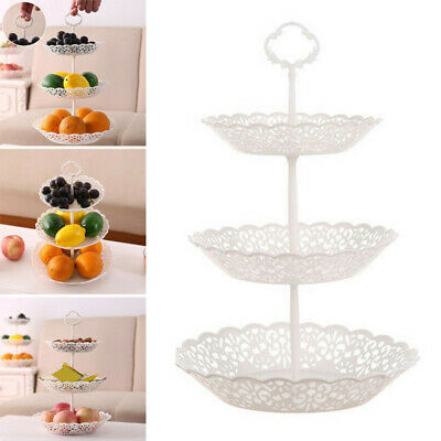 3-Layer Dessert Cup Cake Stand Afternoon Tea Party Wedding Round Plate Tableware • 6.59£