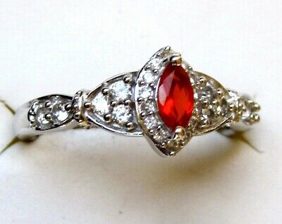 £21.57 • Buy Mexican Red Fire Opal & White Zircon Ring / Size 5 / 925 Sterling, 0.55ct