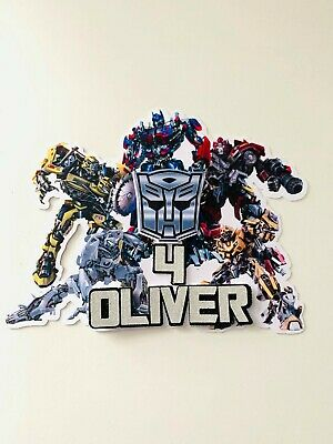 £6.45 • Buy Personalised Transformers Bumblebee/ Optimus Prime Cake Topper Name And Age
