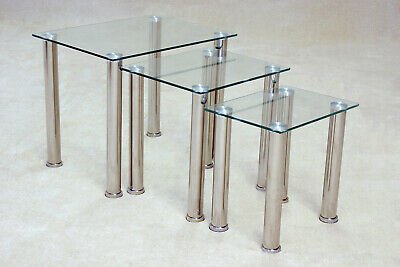 Nest Of Tables Clear Glass Chrome Three Piece Lamp Side End Coffee Table Set • 89.99£