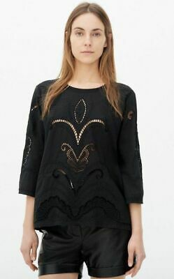 $ CDN75.91 • Buy IRO Black Olea Top Eyelet Embroidered Round Neck Long Sleeve Pullover S 36 NWT