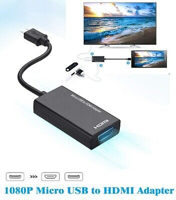 AU13.91 • Buy MHL Micro USB To HDMI Cable Adapter 1080p HD TV For Android Devices Tablet Phone