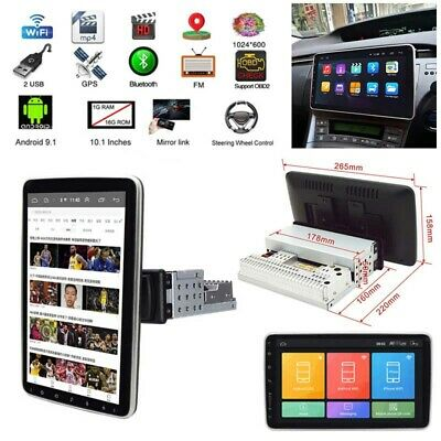 $169.59 • Buy Double 1DIN Rotatable 10.1'' Android 9.1 Touch Screen Car Stereo Radio GPS Wifi