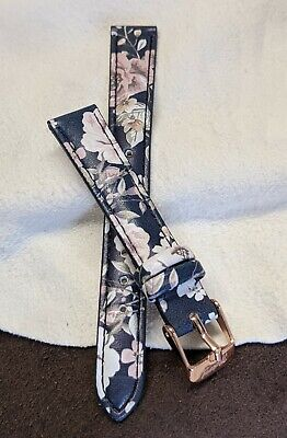 £5.99 • Buy 14 Mm Mantaray Floral / Faux Leather Replacement Watch Strap