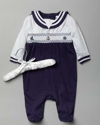 £13.49 • Buy 2021 Baby Boys Spanish Style Romany Nautical Smocked Romper All In One Outfit
