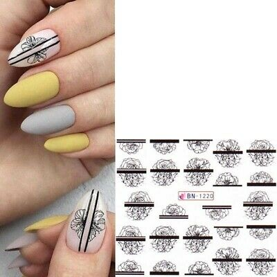 £1.45 • Buy Nail Art Water Decals Transfers Black Abstract Flowers Floral Roses (1220)