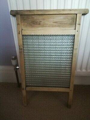 £24.99 • Buy Vintage Antique Wooden And Glass Washboard - Glass Intact - Kitchenalia Prop