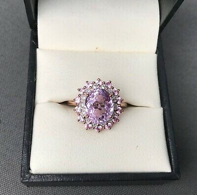 AU1500 • Buy 4ct Kunzite, Pink Sapphire And Diamond Rose Gold Ring Size N-O