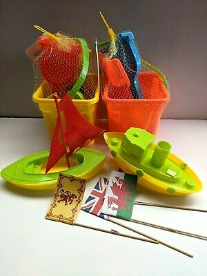 £12.49 • Buy 2 X Bucket And Spade Rake Sandcastle 2 Boats Moulds Flags Windmill Orange/Yellow