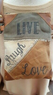 £17 • Buy New Upcycled Canvas/Leather Live Love Laugh Cross Body Bag