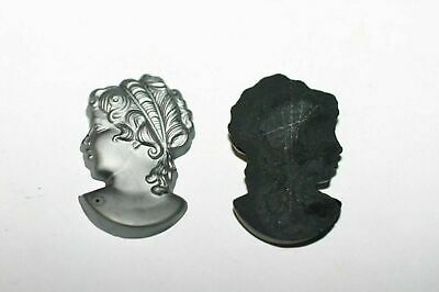 £1.66 • Buy #37  6 Pc  30x18 Grey Cameo Head To Mount On Flat Surface Cabochons Vintage Glas