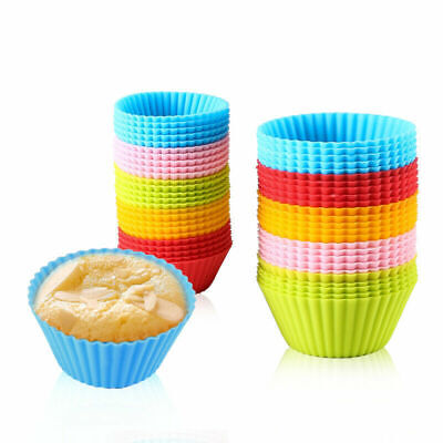 Silicone Muffin Cases 7cm Large Cupcake Moulds Baking Cups Reusable Non-Stick UK