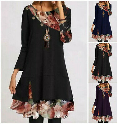 £15.98 • Buy UK Summer Womens Floral Long Sleeve Dress Casual Lose Tops Shirt Dress Plus Size
