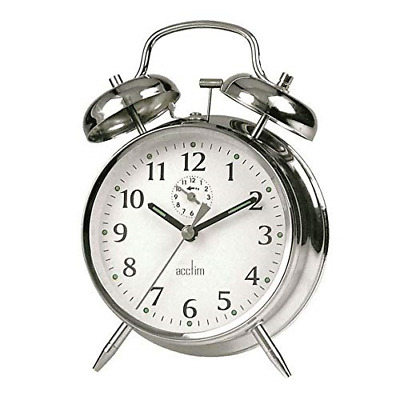 £12.37 • Buy Acctim Bedside Traditional Classic Saxon Wind Up Double Bell Alarm Clock Chrome