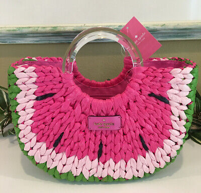 $ CDN219.24 • Buy Kate Spade Picnic Perfect Watermelon Small Tote Bag Satchel Straw Red Green