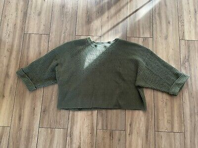 £9.99 • Buy AX PARIS JUMPER Oversize Slouchy GREEN Chunky Knit Cute Warm Spring Cable Knit